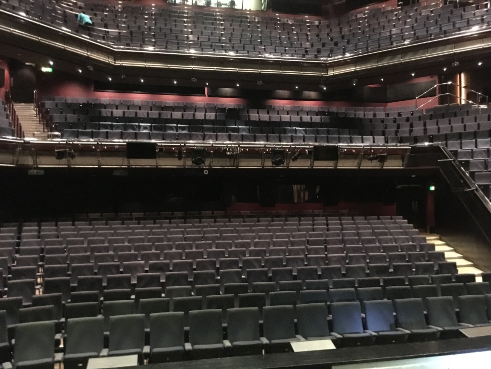 A picture of the Theatre Royal Plymouth's auditorium, taken from the stage