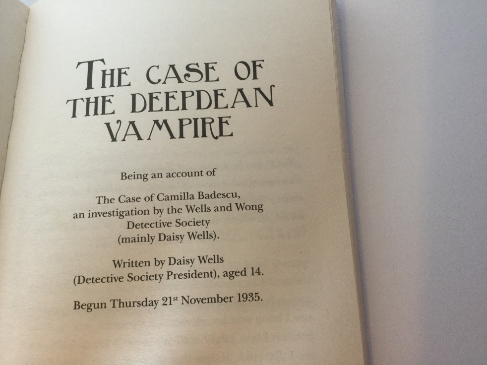 The opening page of The Case of the Deepdean Vampire by Robin Stevens, in Cream Buns and Crime