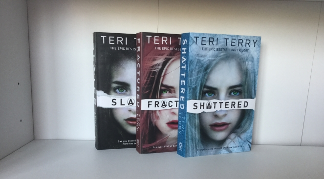 The covers of Slated, Fractured, and Shattered by Teri Terry