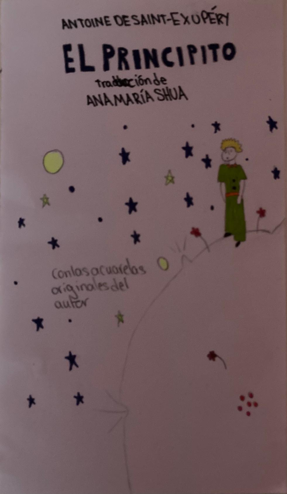 A hand drawn cover of El Principito